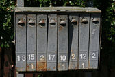 Old rusted postboxes in Lithuania — Stock Photo