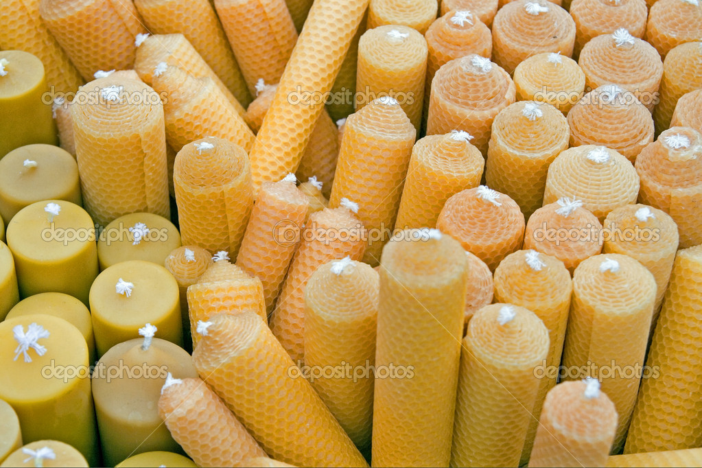Beeswax candles in yellow and orange — ストック写真 #2566204
