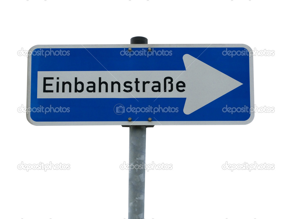 German one way road sign isolated on white  background — Stock Photo #1541568