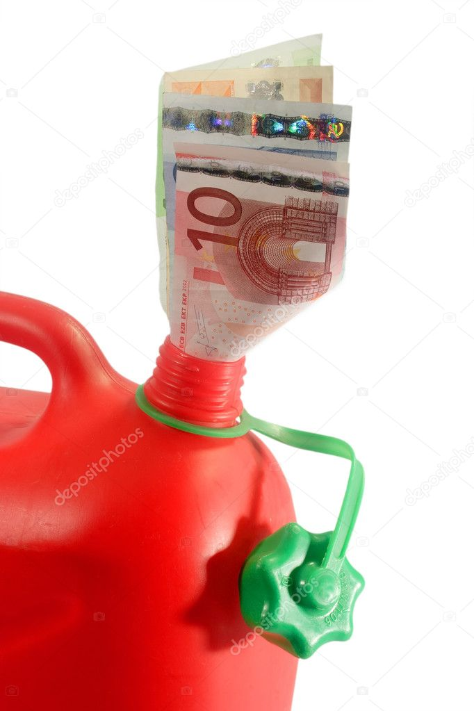 Red gas can with banknotes isolated on white background — Stock Photo #1544650