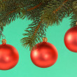 Foto Stock: Red chrismas balls