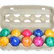 Colorful dyed easter eggs - Stock Photo