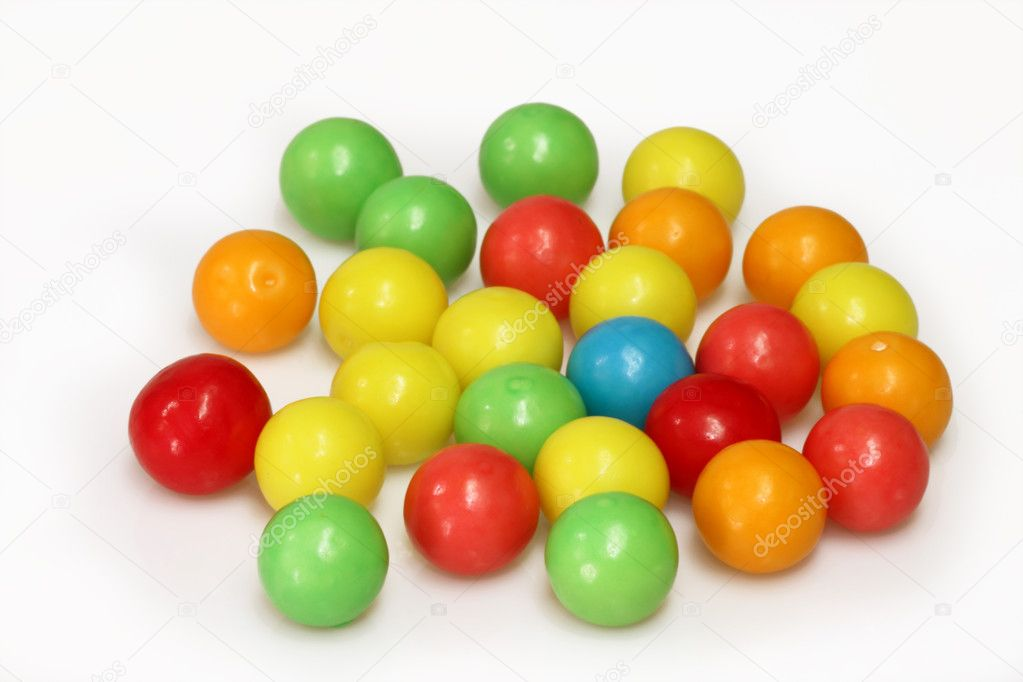 Chewing gum balls on white background  Stock Photo #1552500
