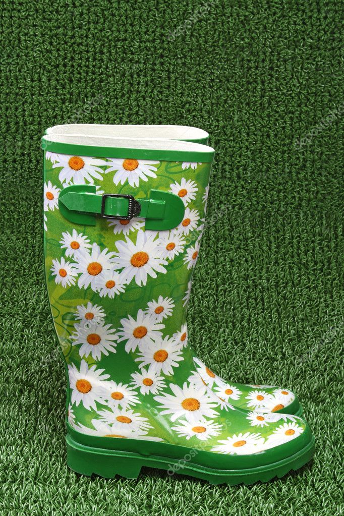Colorful rubber boots on green grass backround  Stock Photo #1555456