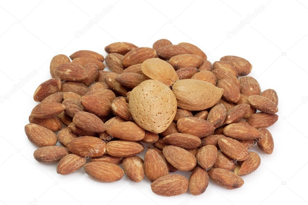 Almonds on the bright background. — Stock Photo #1556144