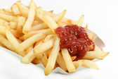 French fries with catchup — Stock Photo