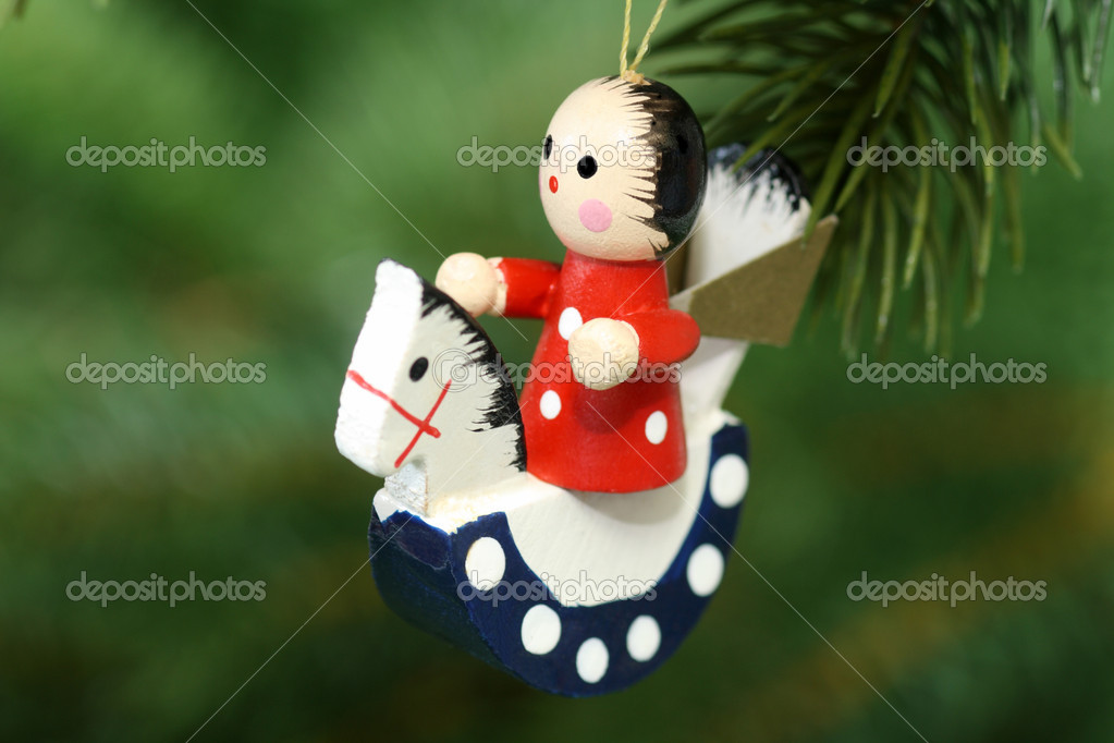 Christmas tree decoration on red background — Stock Photo #1562878