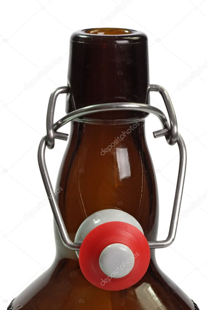 Detail from a brown beer bottle on bright background — Stock Photo #1564460