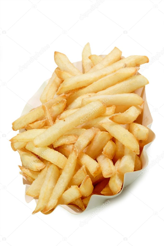 Crunchy French Fries on a paper plate with bright background — Stock Photo #1569387