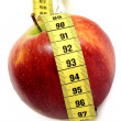 Apple with tape measure — Stockfoto