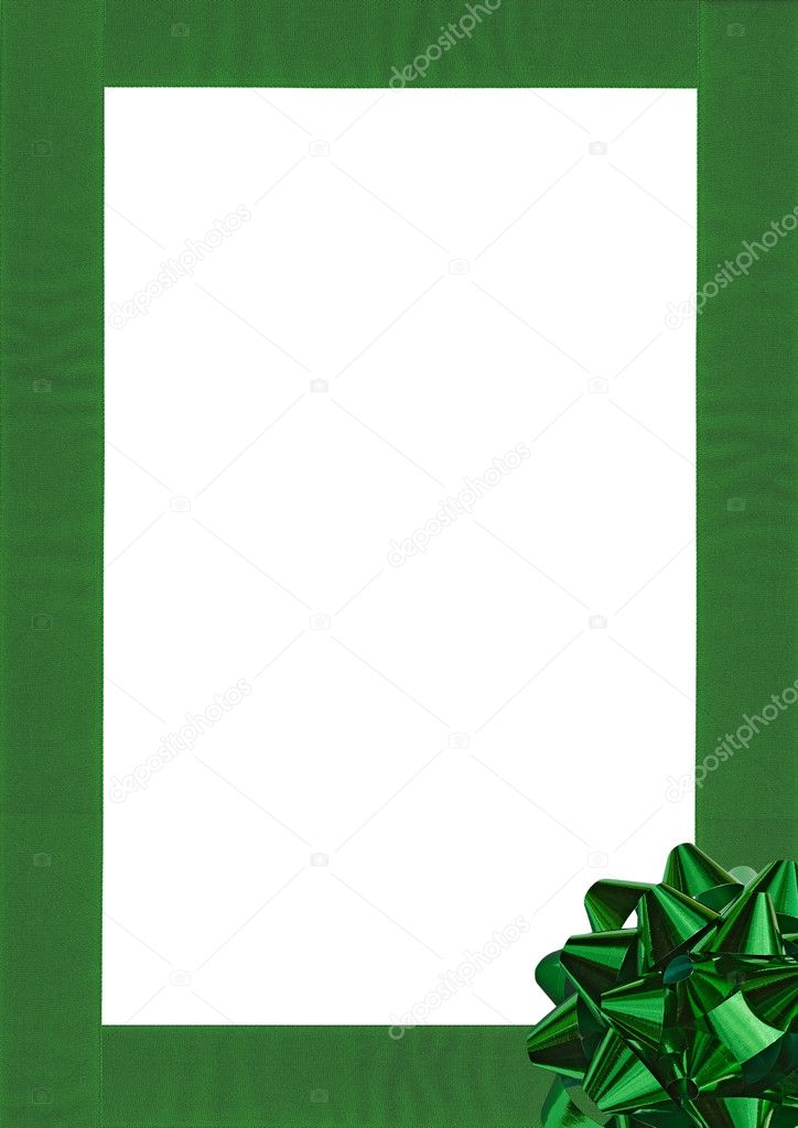 Green Gift wrapping bow and ribbon isolated on white — Stock Photo #1579203