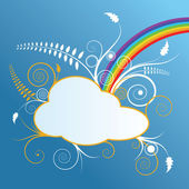 Design with cloud and rainbow — Stock Vector