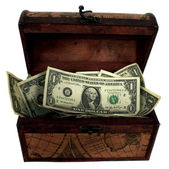 Treasure Chest Filled With Money — Stock Photo