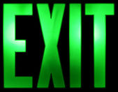 Illuminated Green EXIT Sign on Black — Stock Photo