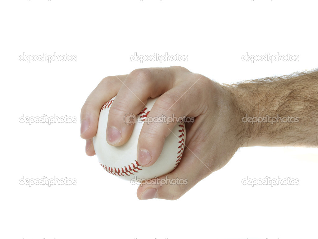 Illustrates how to hold a baseball to throw a palmball. — Stock Photo #1535993