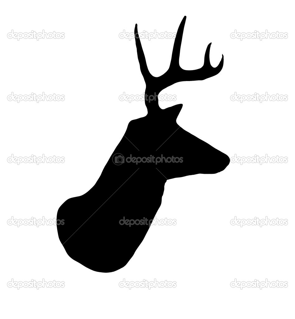 A profile of a whitetail deer buck silhouette isolated on white. — Stock Photo #1536729