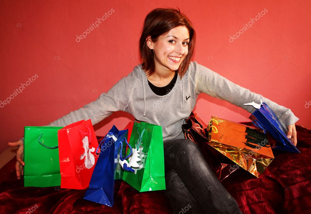 Woman with gif bags  Stock Photo #1575293