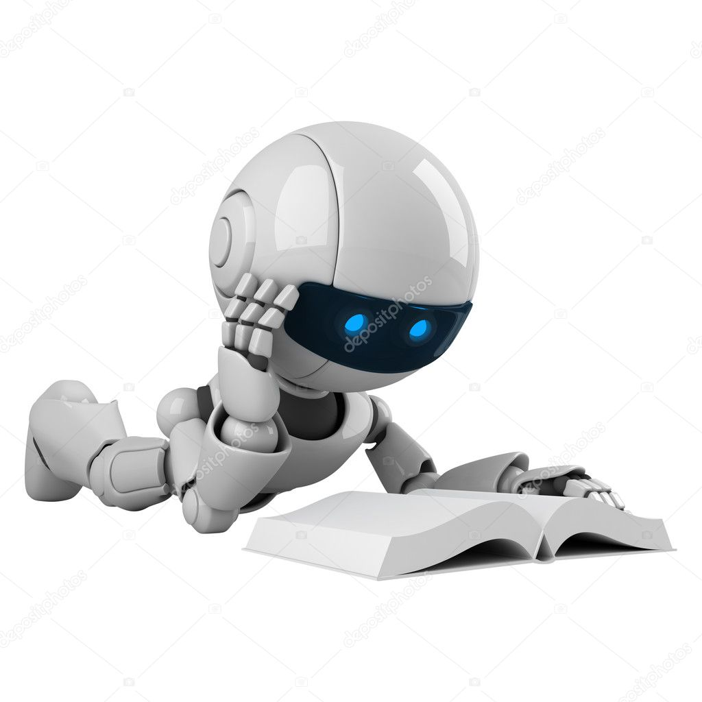 Funny robot read book — Stock Photo #1533728