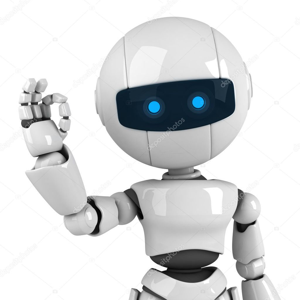 Funny white robot stay, sign ok — Foto Stock #1559164