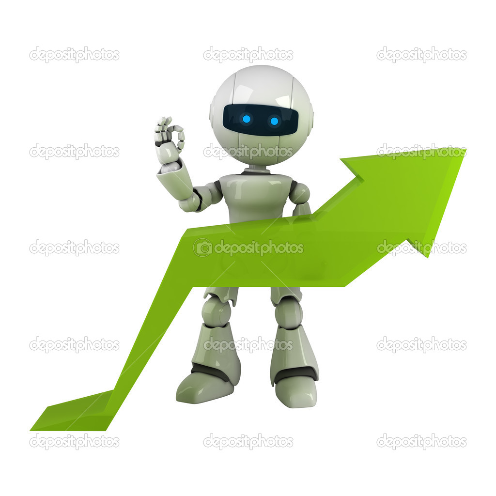 Funny white robot stay with graph arrow  — Stock Photo #1559171