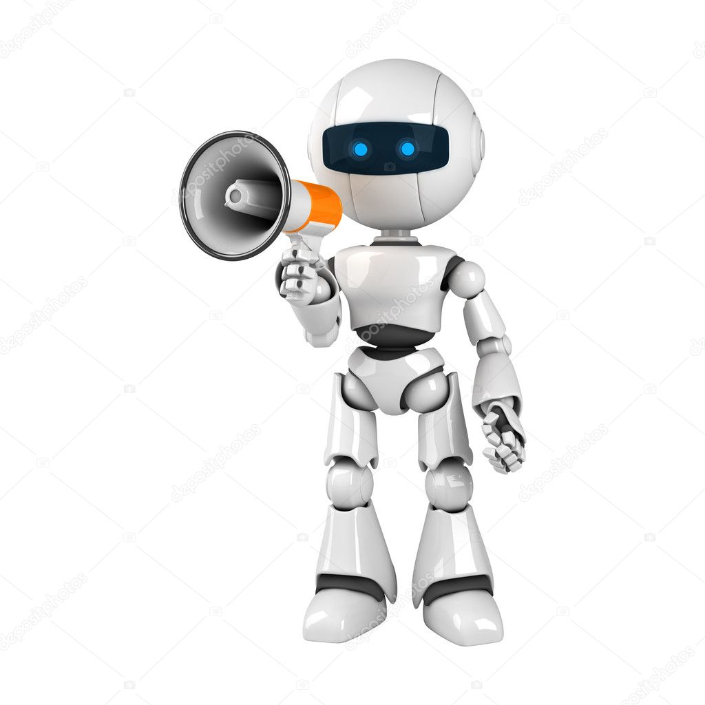 Funny white robot stay with megaphone   Stock Photo #1559198