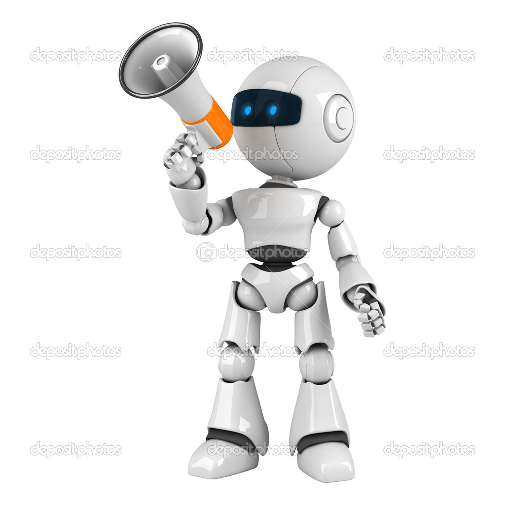 Funny white robot stay with megaphone  — Stock Photo #1559200