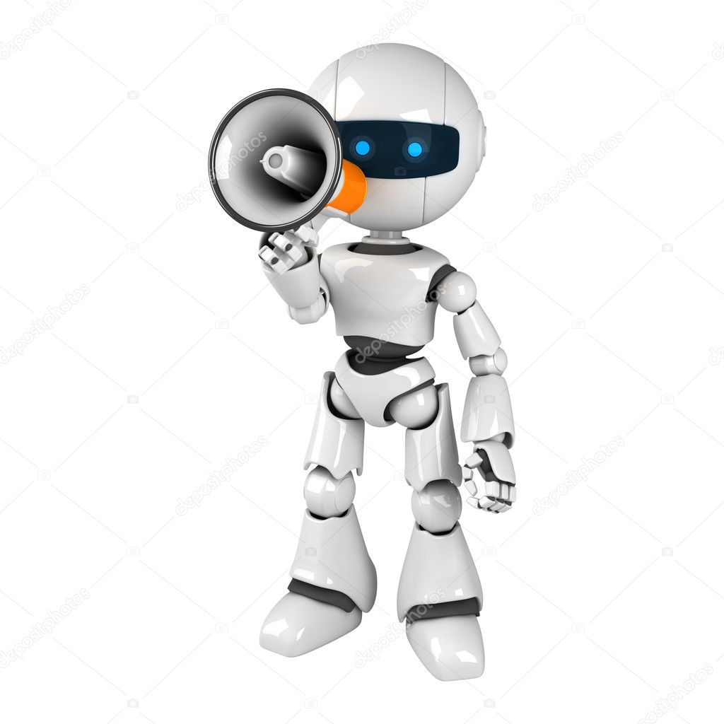 Funny white robot stay with megaphone  — Stock Photo #1559207