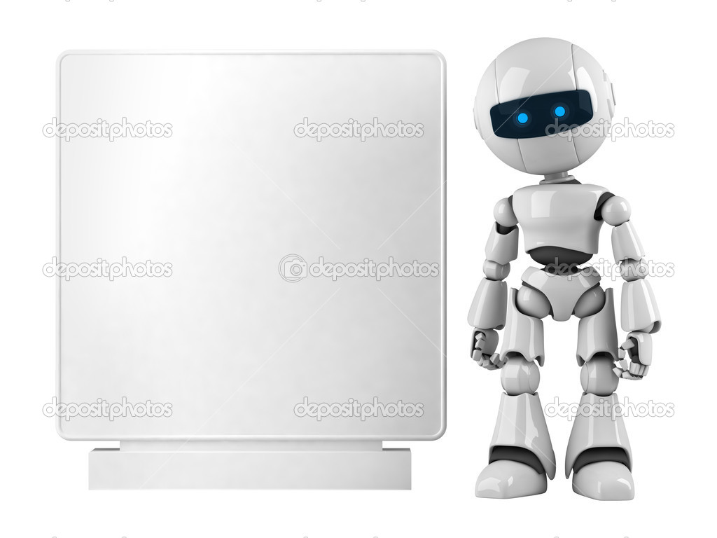 Funny white robot stay with blank banner  — Stock Photo #1559444