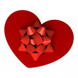 Red gift as heart — Stock Photo