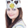 Modern princess with paper crown — Stock Photo