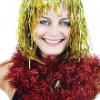 Party girl in golden tinsel — Stock Photo