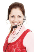 Smiling call support girl — Stock Photo