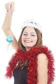 Dívka v bílém koruny a červená pozlátko — Stock fotografie