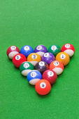 Billiard balls on baize — Stock Photo