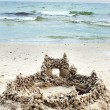 Castle from sand on sea beach — Stock Photo
