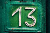 House plate number thirteen — Stock Photo