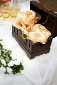 Money box on wedding table — Stock Photo