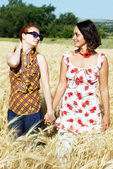 Two girlfriends outdoors — Stock Photo