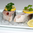 Royalty-Free Stock Photo: Salmon fillet on crushed ice with lemon