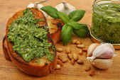 Baguette as a snack with pesto — Stock Photo