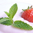 Stock Photo: Organic strawberry in yogurt and mint