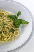 Spaghetti with organic home made pesto — Stock Photo