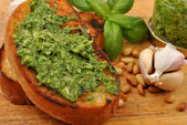 Baguette as a snack pesto — Stock Photo