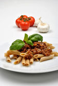 Pasta with mince meat — Stock Photo
