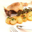 Royalty-Free Stock Photo: Roasted duck leg and potatoes