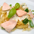 Stock Photo: Cooked spaghetti with organic salmon