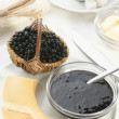 Stock Photo: Breakfast with elderberry jam
