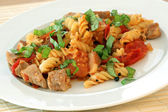 Home made noodle and pork meat — Stock Photo