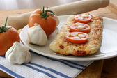 Home made italian pizza with salami — Stock Photo