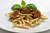Home made pasta with mince sauce — Stock Photo